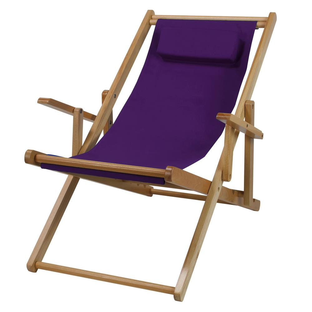 canvas sling chair outdoor metal mesh folding chairs casual home natural frame and purple solid wood