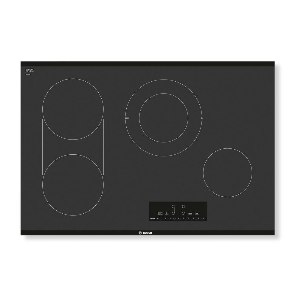 hight resolution of radiant electric cooktop in black with 4 elements including 3 600