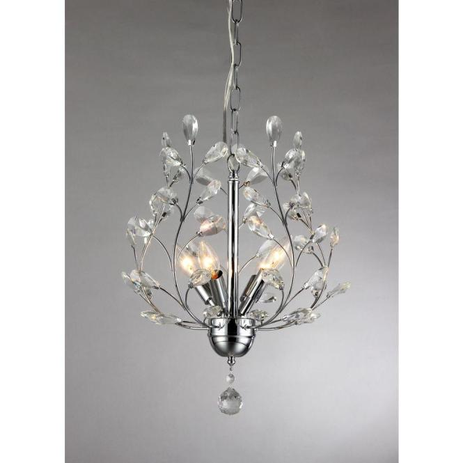 Marie 4 Light Chrome Indoor Crystal Chandelier With Shade Rl8026 The Home Depot