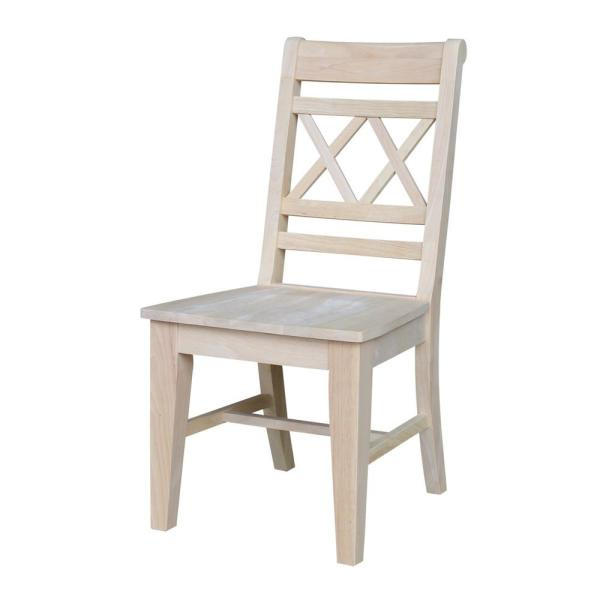 W150 x d90 x h75cm (dining table), w45.5 x d63 x h77cm (dining chair), w98 x d37 x h47cm (bench) delivers from: International Concepts Canyon Unfinished Wood Double X ...