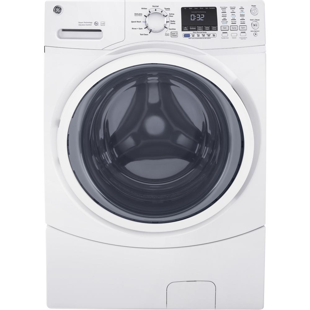 hight resolution of ge 4 5 cu ft high efficiency white front load washing machine with steam