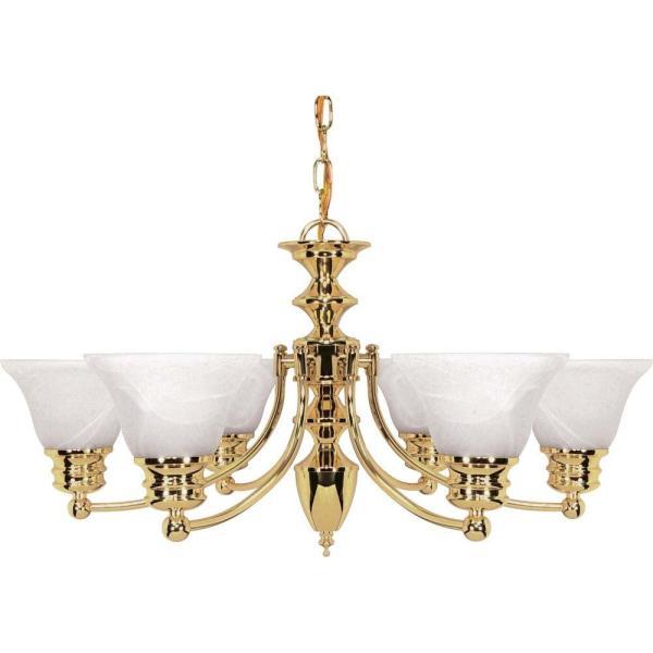Glomar Nuwa 6-light Polished Brass Chandelier With