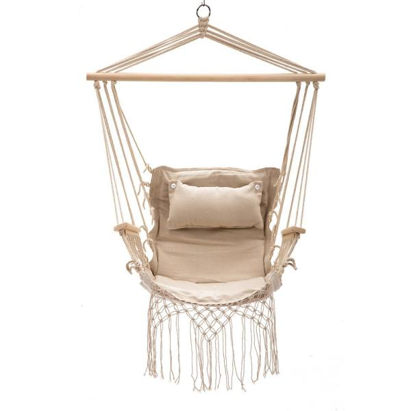 Unbranded 43 In X 22 In Hammock Hanging Swing Chair In Cream Ushg4472 The Home Depot