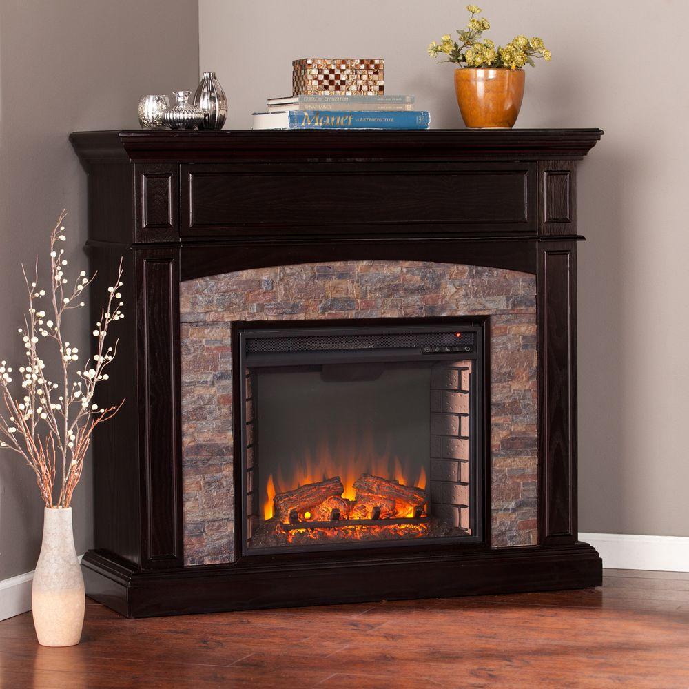 Southern Enterprises Newburgh 455 in W Faux Stone Corner Electric Media Fireplace in Ebony