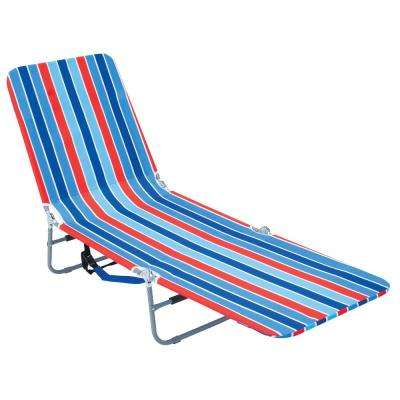 beach lawn chairs unfinished wooden cheap aluminum patio the home depot blue red striped steel adjustable backpack lounge chair