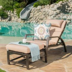 Outdoor Chaise Lounge Chair With Ottoman Hanging Pier One Noble House Dark Brown Wicker And Aluminum Set Tan Cushion