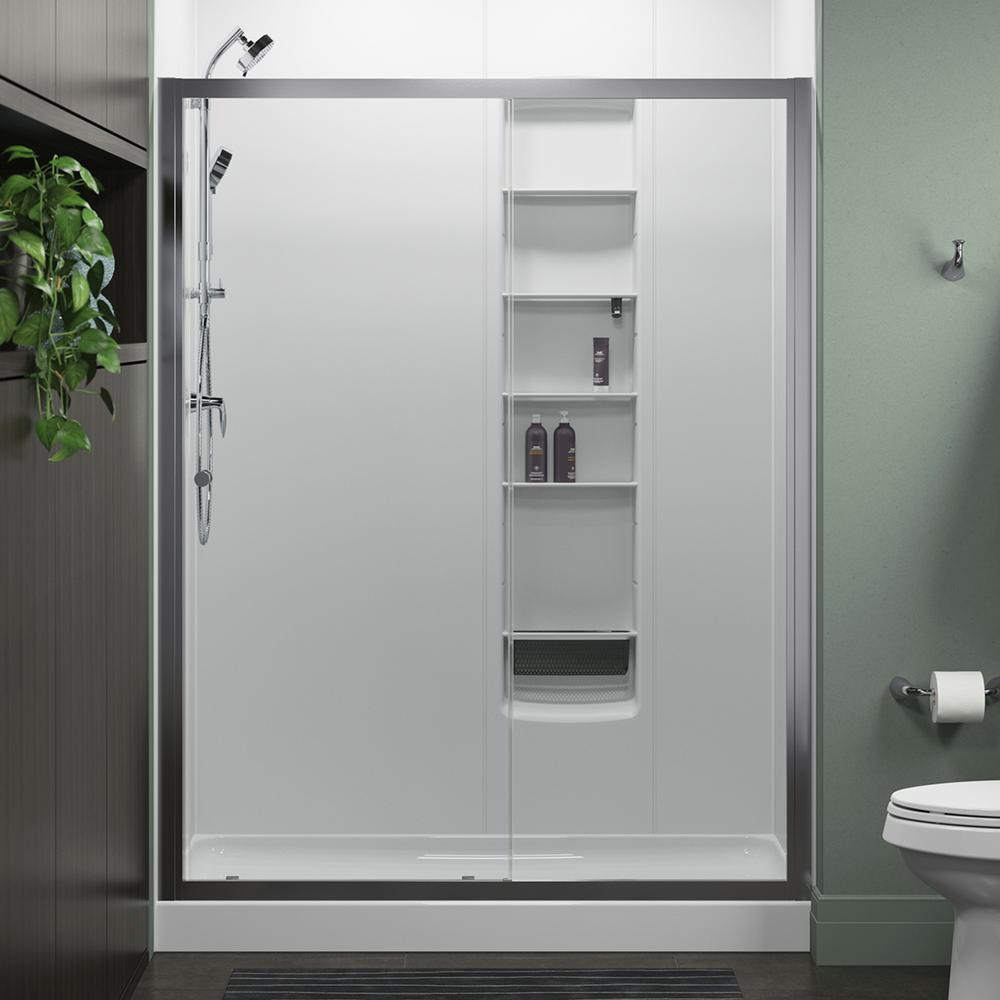 STERLING Whiston 60 in x 74875 in Frameless Sliding Shower Door in Silver with Handle572108