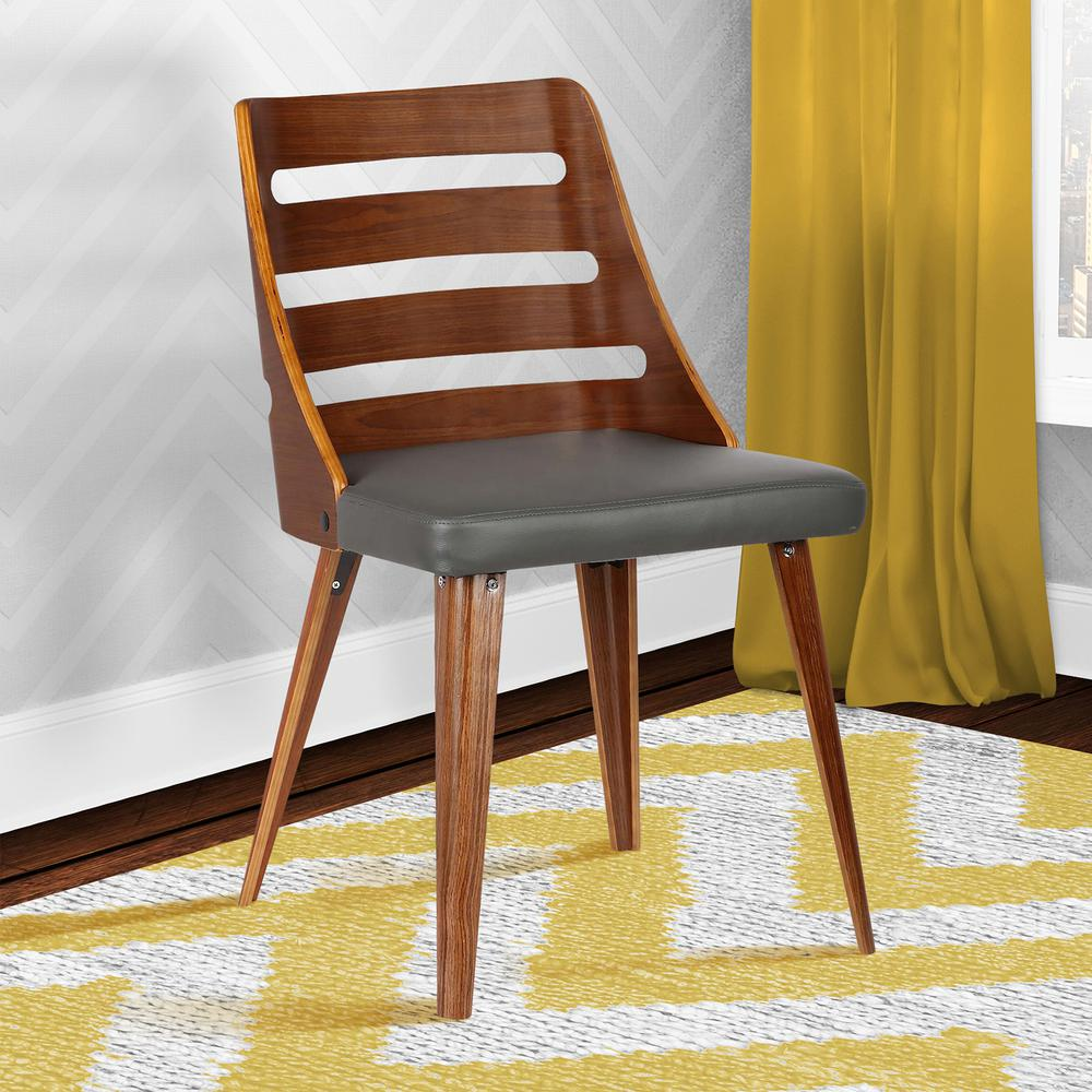 mid century dining chairs travel shower chair armen living storm 31 in gray faux leather and walnut wood