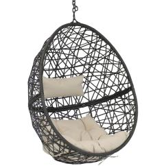 Patio Hanging Egg Chair Bamboo Sunnydaze Decor Caroline Resin Wicker Indoor Outdoor Lounge With Beige Cushions