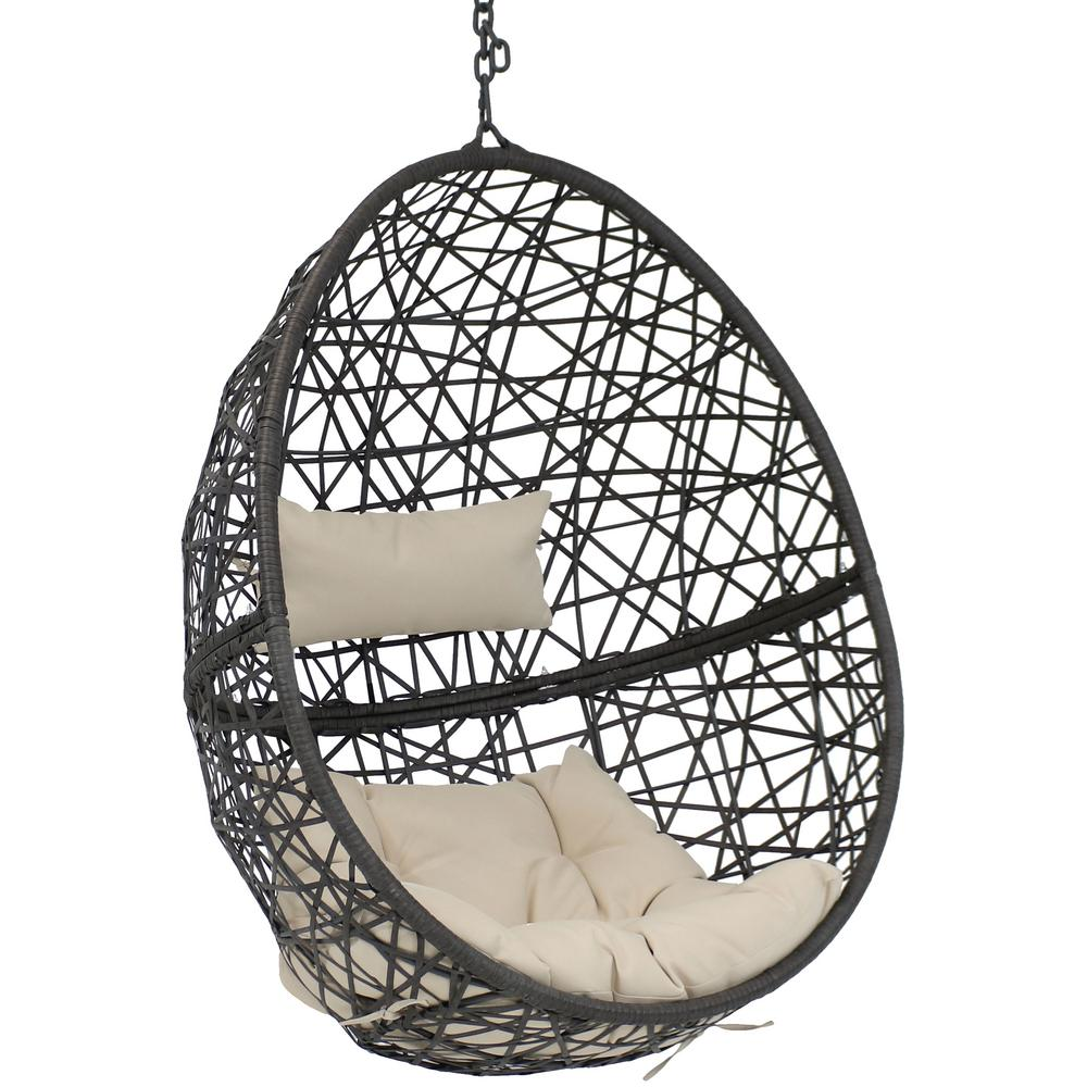 Sunnydaze Decor Caroline Resin Wicker Outdoor Hanging Egg Patio Lounge Chair With Beige Cushions Aj 727 The Home Depot