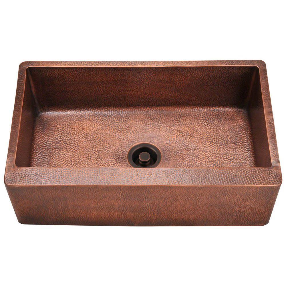 copper sink kitchen rustic outdoor polaris sinks farmhouse apron front 33 in single bowl