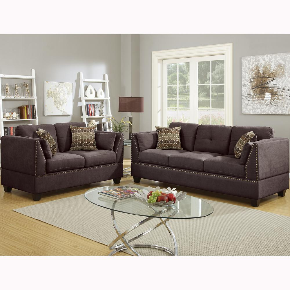 2 piece brown leather sofa design your own corner uk venetian worldwide abruzzo dark velvet set vene f6917 the home depot