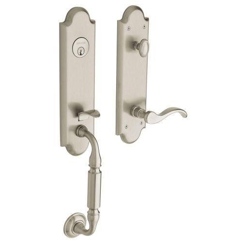 small resolution of baldwin estate collection manchester single cylinder satin nickel left handed door handleset with wave door
