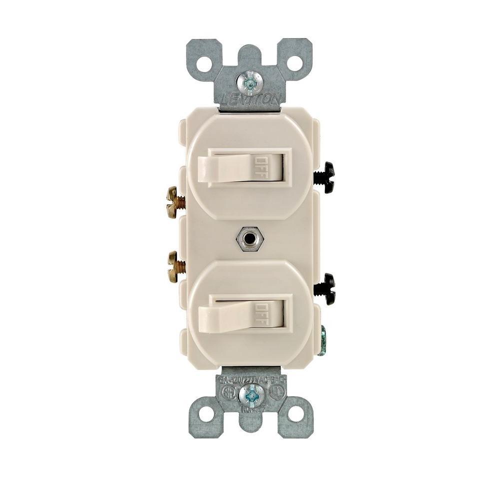 medium resolution of leviton 15 amp combination double switch light almond