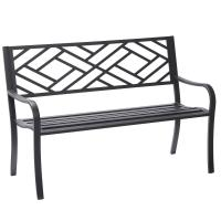 Hampton Bay Easterly Steel Black Outdoor Bench-HD17590 ...