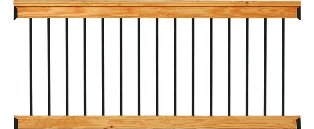 Deckorail Western Red Cedar 6 Ft Railing Kit With Black Aluminum | Home Depot Railing Spindles | Redwood Deck | Stair Railing | Pressure Treated Lumber | Fence | Stair Parts