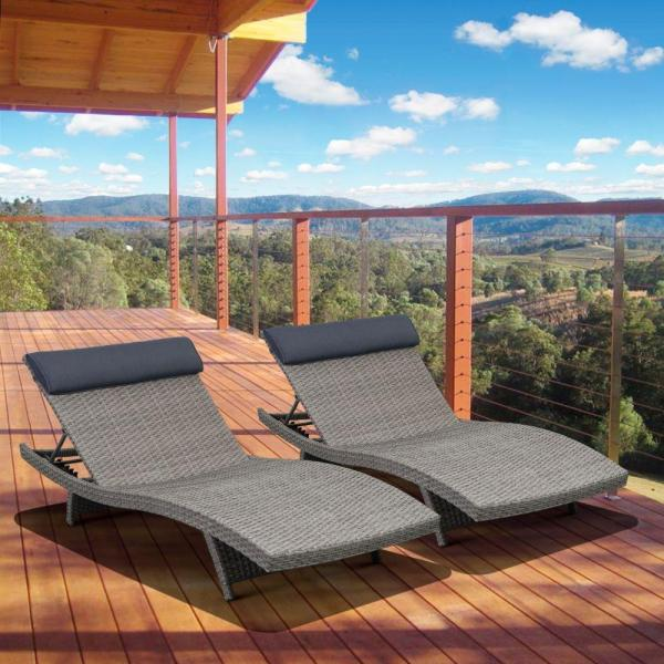 Atlantic Contemporary Lifestyle Florida Deluxe Gray Weather Wicker Patio Chaise Lounge With