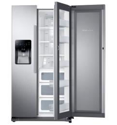 side by side refrigerator in stainless steel with food showcase [ 1000 x 1000 Pixel ]