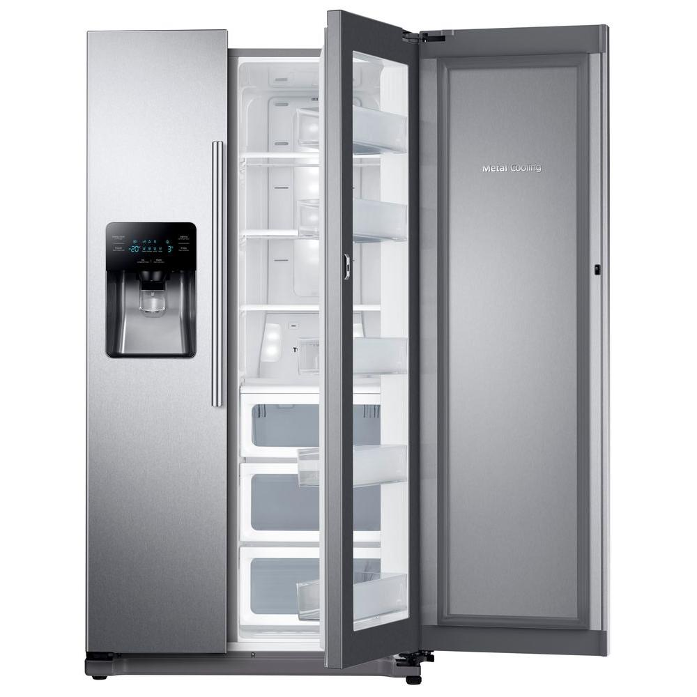 medium resolution of side by side refrigerator in stainless steel with food showcase