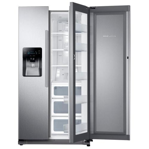small resolution of side by side refrigerator in stainless steel with food showcase