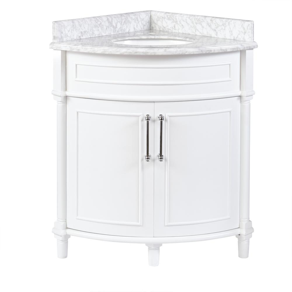 Home Decorators Collection Bathroom Corner Vanity Cabinet Marble Top White New 828796013376  eBay