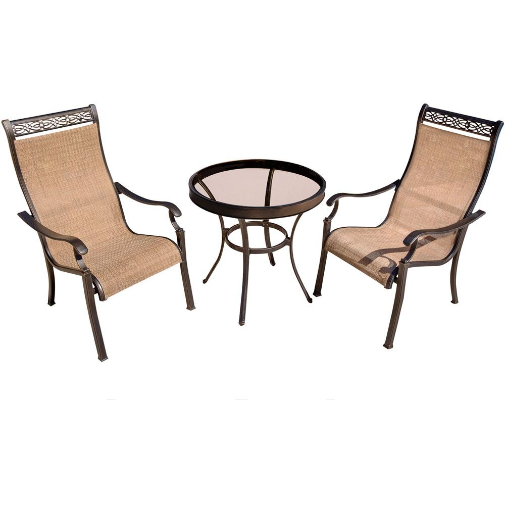 sling chair outdoor how much do adirondack chairs cost hanover monaco 3 piece aluminum bistro set with round glass top table