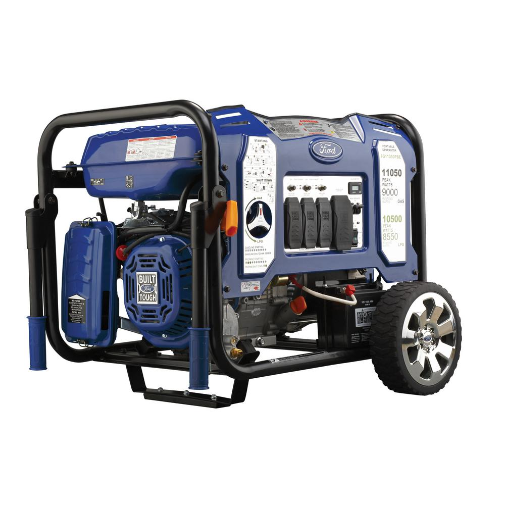 medium resolution of 11 050 9 000 watt dual fuel gasoline propane powered electric recoil start portable generator with 457 cc ducar engine