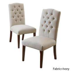 White Fabric Dining Chairs Acrylic Chair Ikea Kitchen Room Furniture Crown Ivory Linen Set Of 2