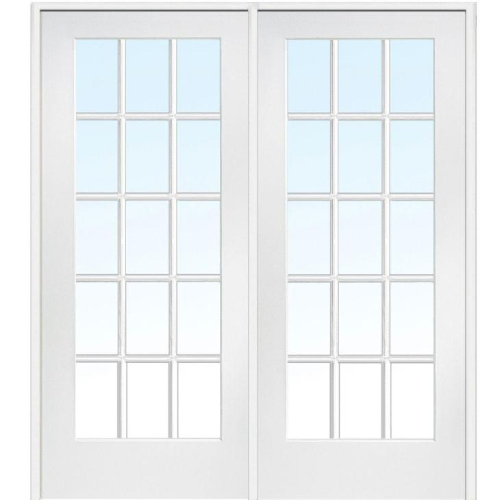 Left Hand Active Primed Composite Glass 15 Lite Clear True Divided Prehung  Interior French Door