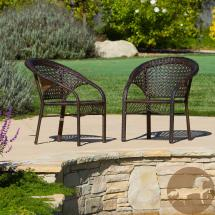 Noble House Ace Brown Stackable Wicker Outdoor Dining