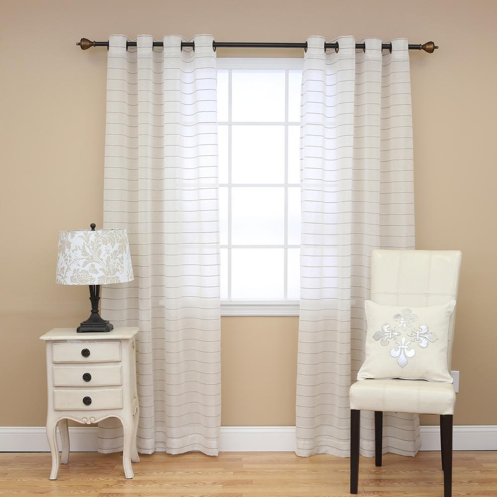 Best Home Fashion Faux Linen Horizontal Striped Curtains