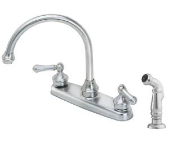 Savannah  Handle Standard Kitchen Faucet With Side Sprayer In Stainless Steel