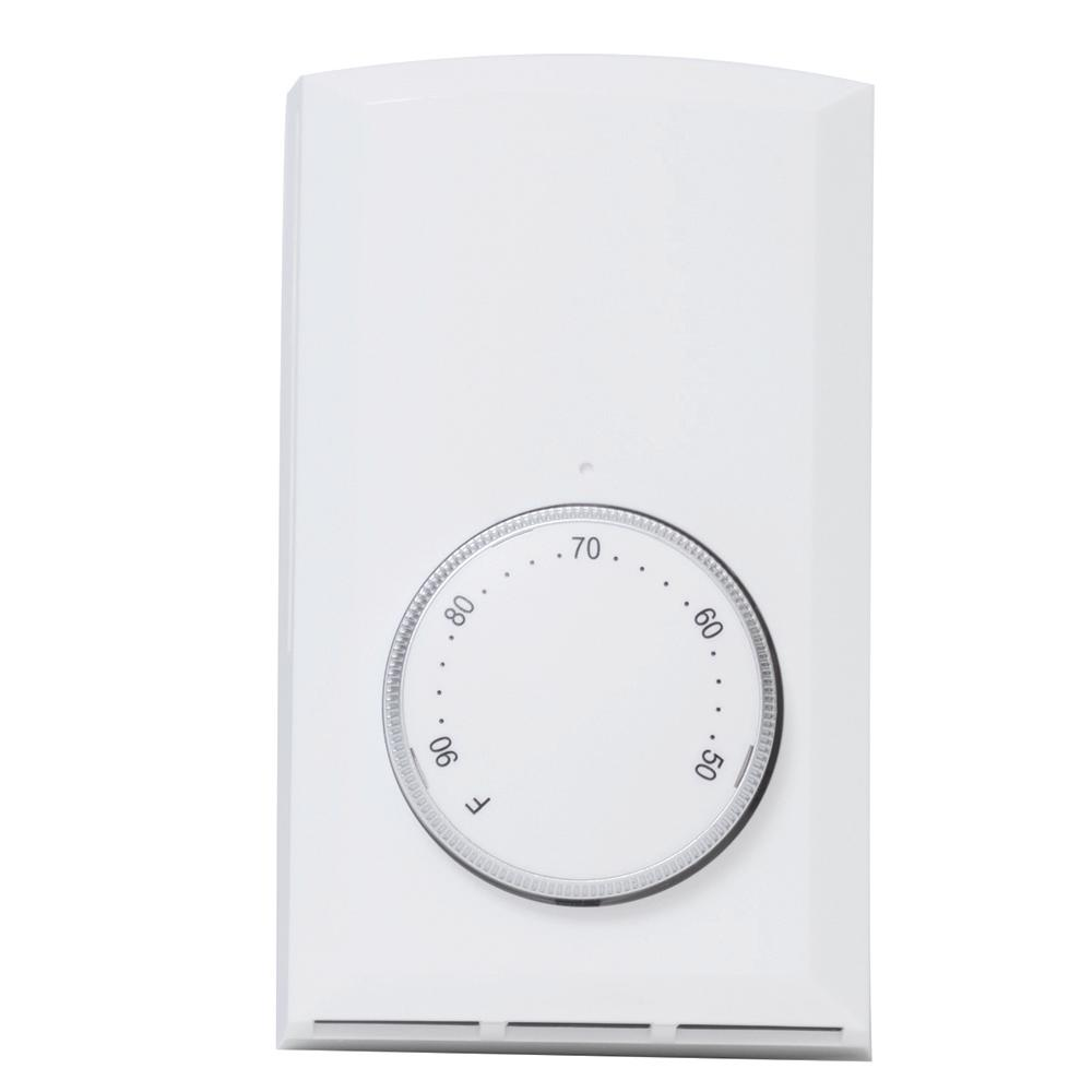 hight resolution of single pole 22 amp 120 volt 240 volt wall mount mechanical non programmable thermostat in white