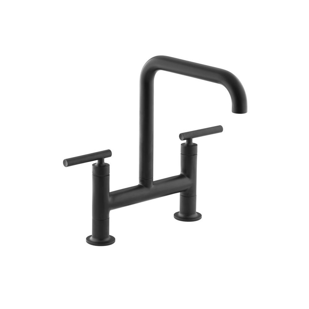 kitchen faucet black cafe curtains for kohler purist 2 handle bridge in matte k 7547 4