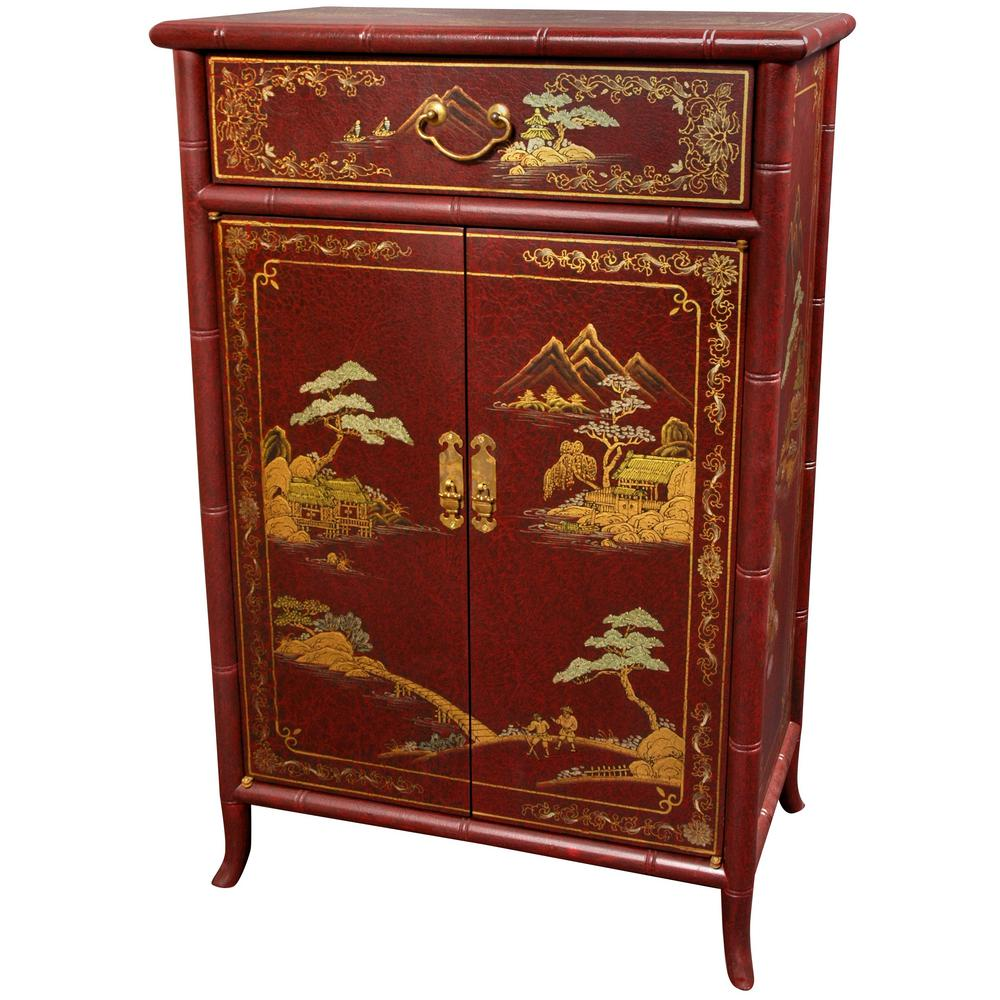 Oriental Furniture Red Lacquer Japanese Shoe CabinetLCQ