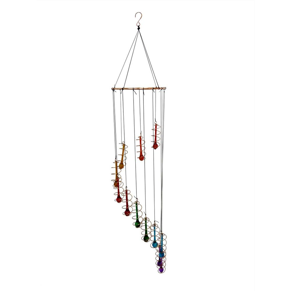 Alpine 36 in. Colorful Glass Hanging Decor with Beads