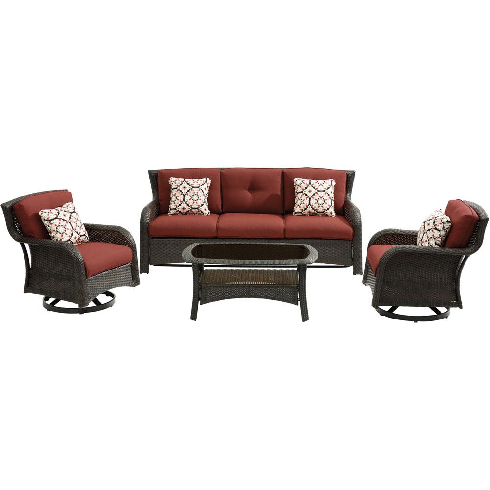 swivel chair sofa set canopy folding canada hanover strathmere 4 piece wicker patio sectional seating with crimson red cushions
