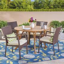 Noble House Baldwin Multi-brown 5-piece Wood And Wicker
