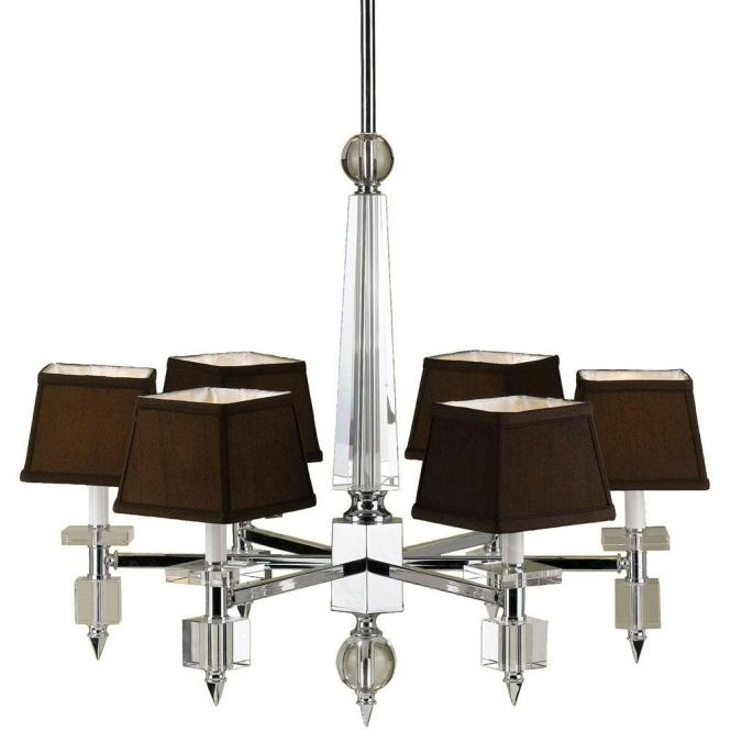 Af Lighting Cluny 6 Light Chrome Chandelier With Crystal Accents And Chocolate Shades