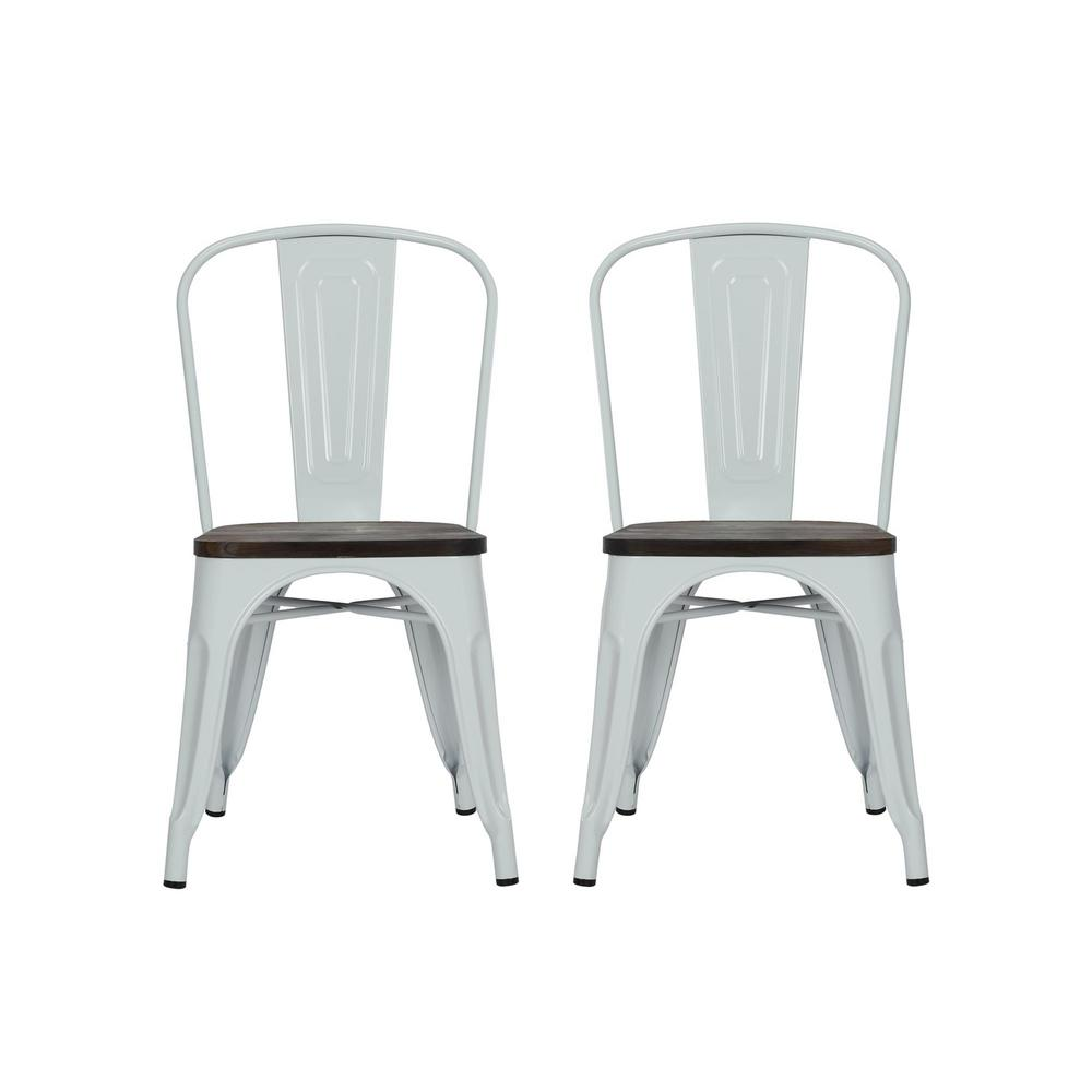 DHP Penelope White Metal Dining Chair with Wood Seat Set