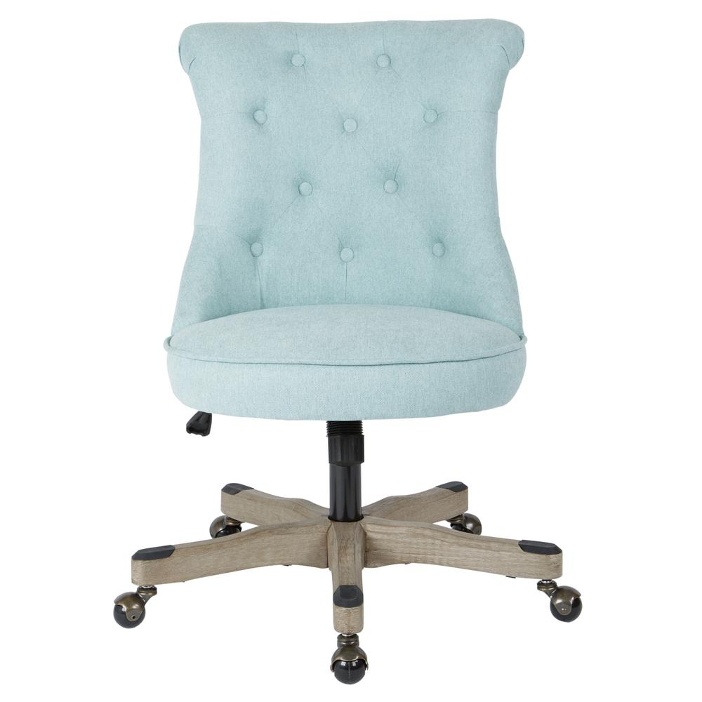 tufted desk chair covers for weddings hire osp home furnishings hannah mint fabric office with grey wood base hnnsa e15 the depot
