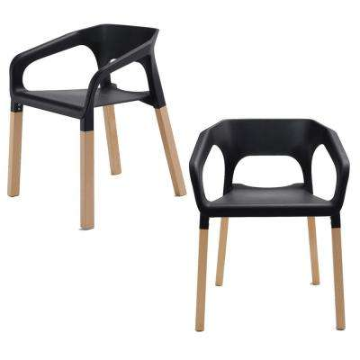 black plastic chair with wooden legs small modern chairs living room furniture the home amy series accent dining arm beech wood leg set of 2