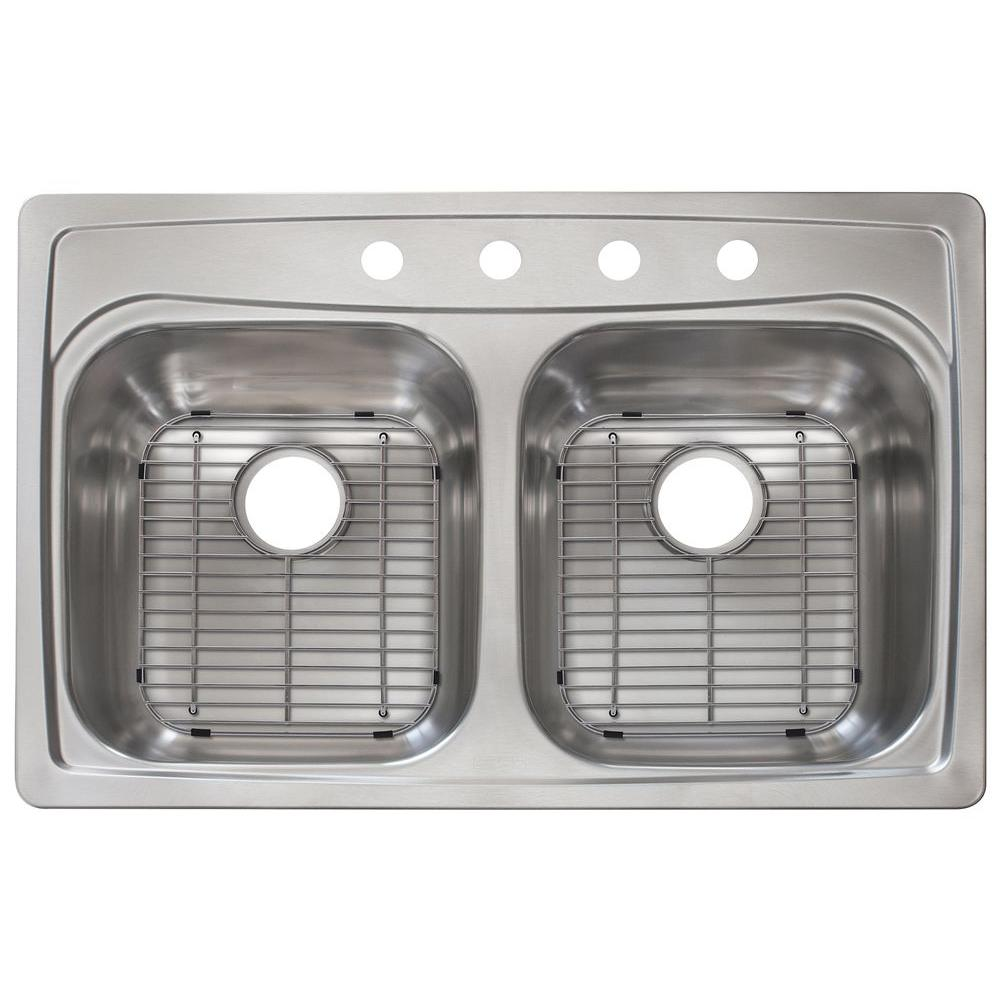 deep kitchen sink shelf for drop in stainless steel 33 4 hole double bowl 16340317 the home depot