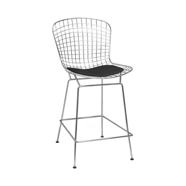 Mod Made Mid Century Modern Chrome Wire Counter Stool with