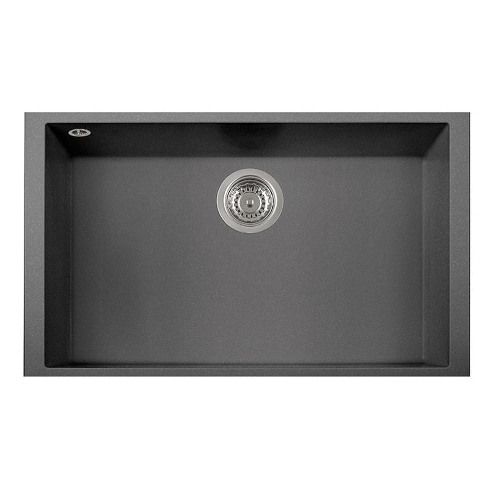 undermount single bowl kitchen sink gooseneck faucet with spray latoscana one granite composite 17 in titanium