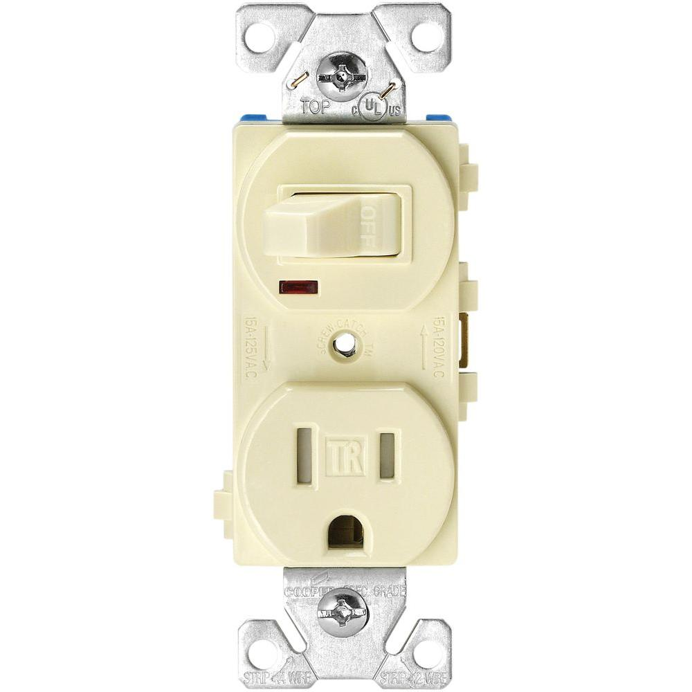 medium resolution of 15 amp 120 volt 5 15 3 wire combination receptacle and toggle switch