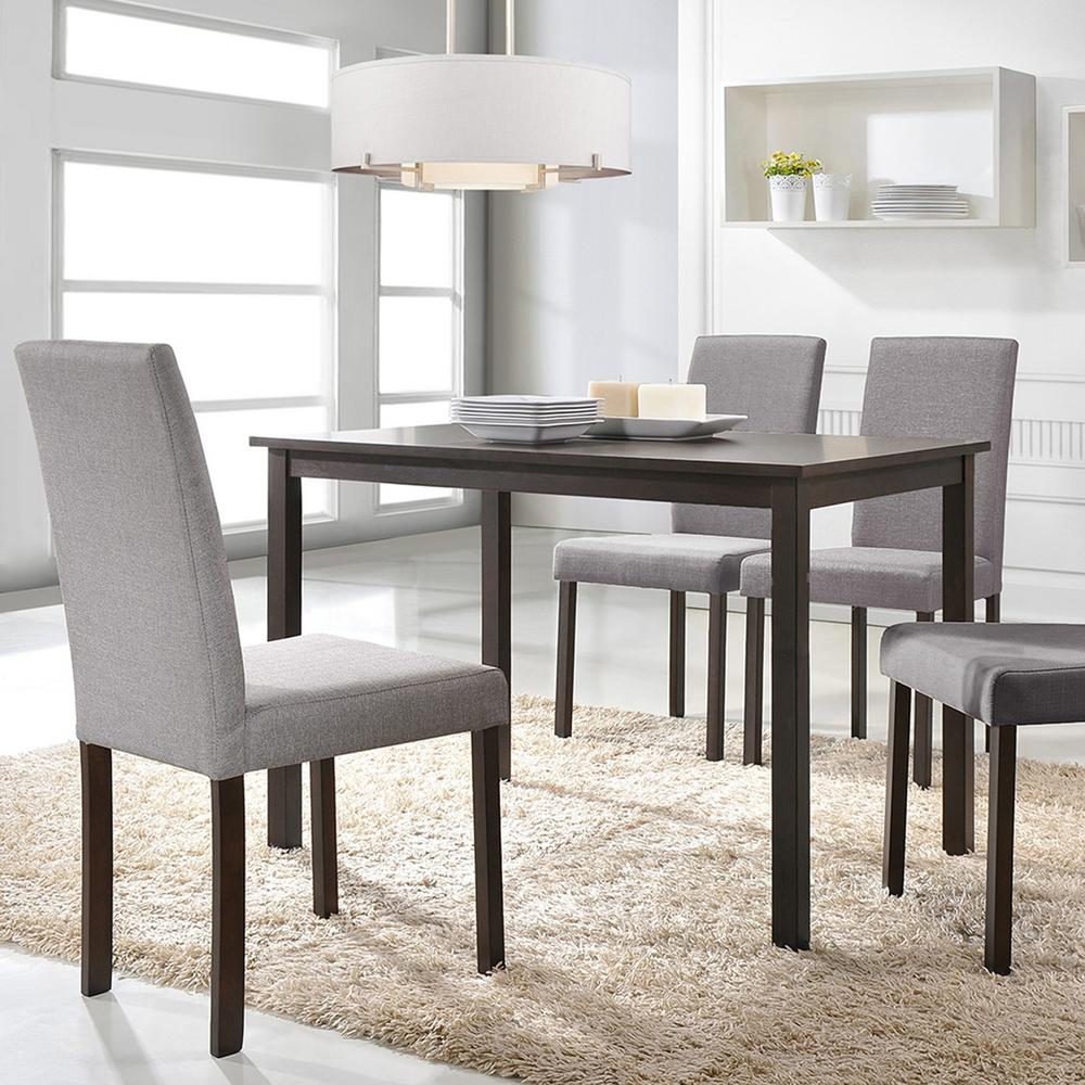 gray upholstered dining chairs swing outdoor baxton studio andrew 5 piece fabric set 5255