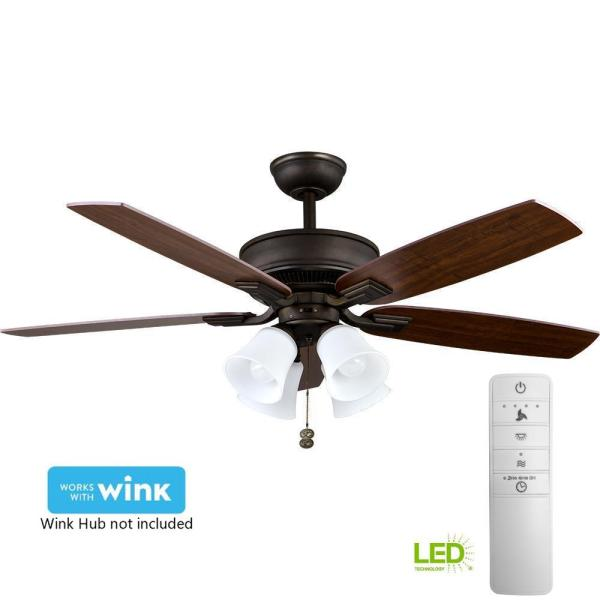 Hampton Bay Devron 52 In. Led Indoor Oil-rubbed Bronze Smart Ceiling Fan With Light Kit And Wink