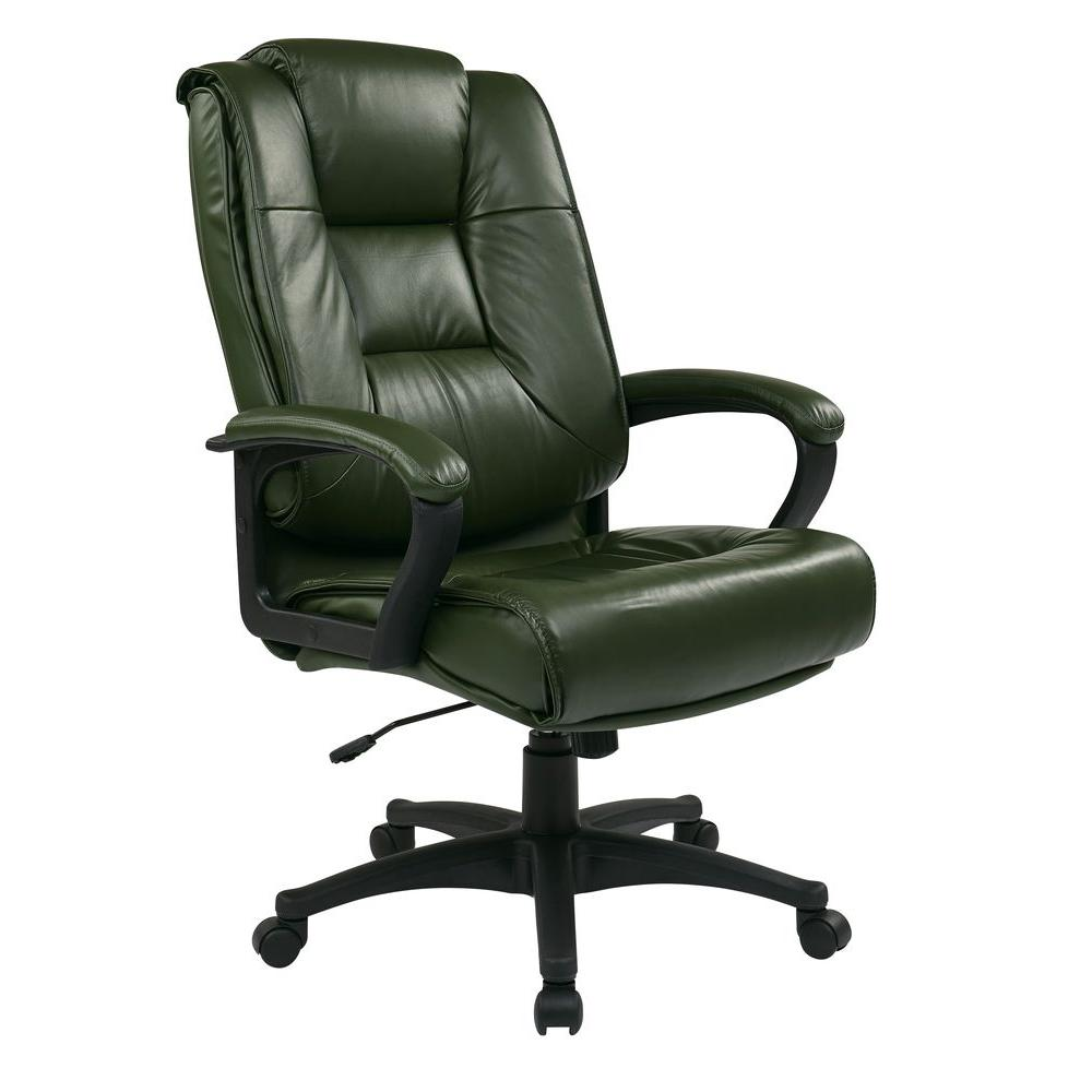 Work Smart Green Leather Executive Office Chair EX5162 G16