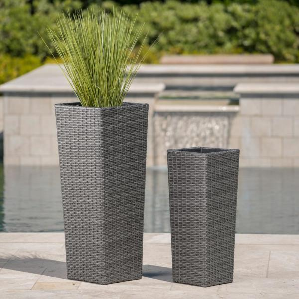Noble House Gray Polyethylene Wicker Tapered Flower Pots With Iron Frame 2 Pack 11542 The Home Depot
